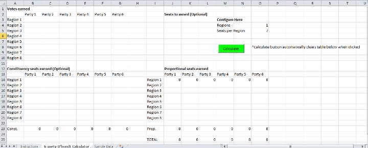 Excel D'Hondt Proportional Representation Calculator